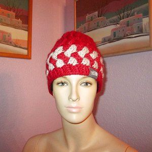 The NORTH FACE Unisex ALPACA Blend SKI Snow BEANIE Hat CABLE KNIT Fuzzy WOOL Red